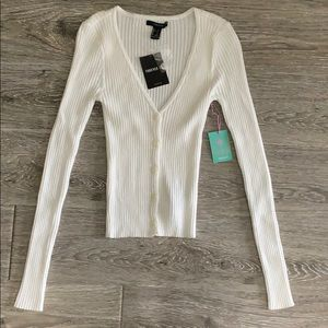 NWT Forever 21 cream ribbed cardigan sweater top